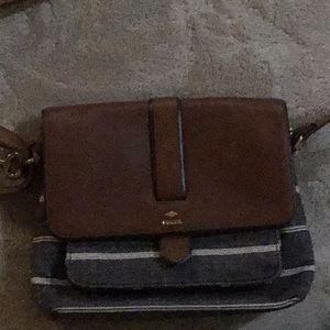 Fossil leather and fabric crossbody